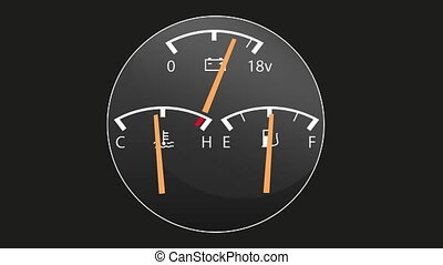 Car gauges - fuel level goes down, then whole car stops and...