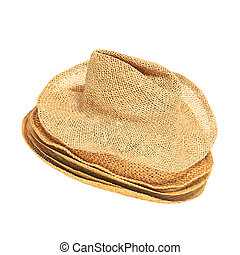 The lot of straw hats isolated on white background - Set of...