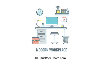 Empty workplace animation isolated on white background -...