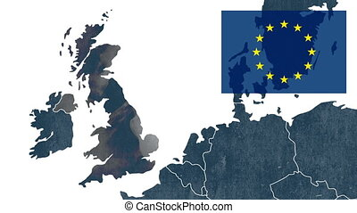 UKs EU referendum - West of EU map with an European flag -...