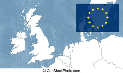 Brexit, West EU map with EU flag - Brexit - West EU map with...