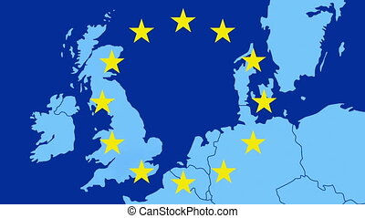 Brexit - map of the west of EU with the 12 symbolic stars -...