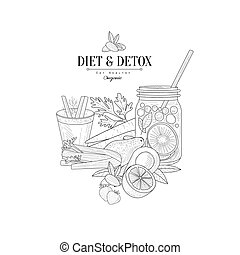 Set Of Vegan Diet Food Hand Drawn Realistic Sketch - Set Of...
