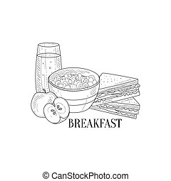 Breakfast With Porridge, Sandwich And Juice Hand Drawn...