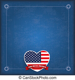 Vintage USA Heart God Bless America - Vintage cover with...