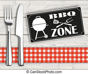 Wood Checked Cloth Knife Fork Sign BBQ Zone - Fork with...