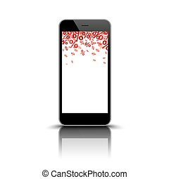 Smartphone Mirror Red Percents - Black smartphone with red...