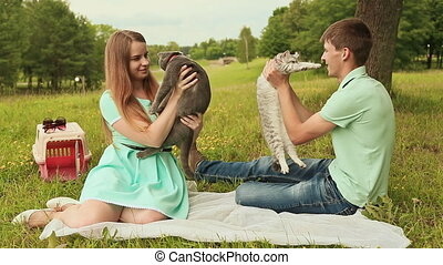 Guy and girl in a meadow with Scottish Fold and gray British cats
