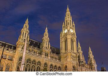 Vienna Cityhall at night Austria
