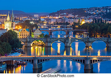 Prague Czech Republic, view of Bridges on Vltava in Praha at...