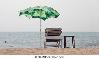 Chair with Umbrella near the Beach - Goa, India %u2013...