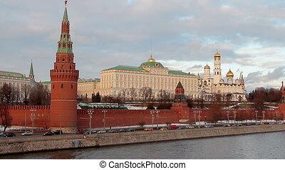 Traffic near Kremlin - Moscow, Russian Federation February...