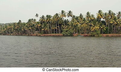 Tiracol river at sunny day, Goa India