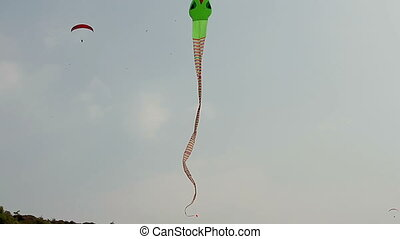 Big kite snake flying over blue sky