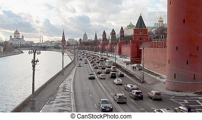 Traffic near Kremlin in Moscow - Moscow, Russian Federation...