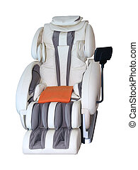 Massage chair isolated - Leather reclining massage chair...