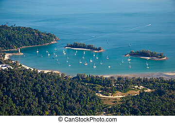 Langkawi landscape with yachts, top view - Photo of the...