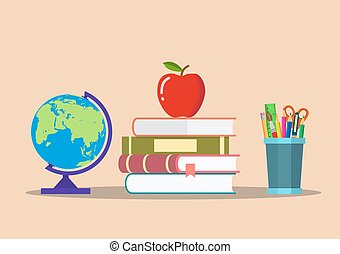 color pencils in cup, globe, books, apple. education
