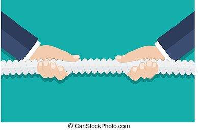 tug of war, business competition concept - Businessman hands...