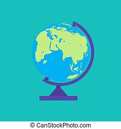 Globe isolated on green background
