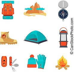 Set of camping equipment icons and symbols, sketch style...