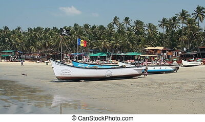 Fisherman boat on the beach - Goa, India - February 17,...