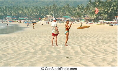 people relaxing on Palolem beach - Goa, India %u2013...