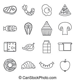 Food icons set, outline style - Food icons set in outline...