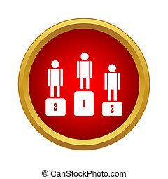 Three winners are in the podium icon - icon in simple style...
