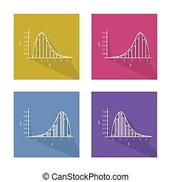 Set Chart of Normal and Not Normal Distribution Curve - Flat...