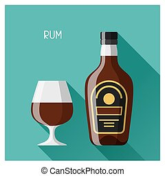Bottle and glass of rum in flat design style.