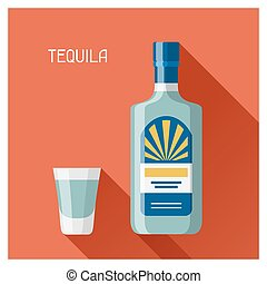 Bottle and glass of tequila in flat design style