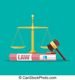 Judge gavel with law books and scales