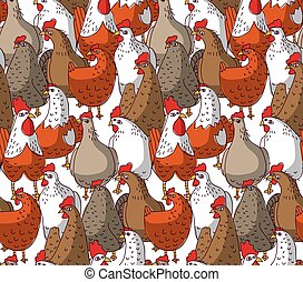 Birds chicken big group color seamless pattern.
