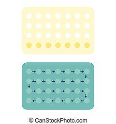 28 Contraceptive pills, Birth control pill, flat design