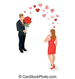 Romantic couple in love meeting. Love and celebrate concept. Man gives a woman a bouquet of roses. Romantic lovers dating. Vector flat 3d isometric illustration.