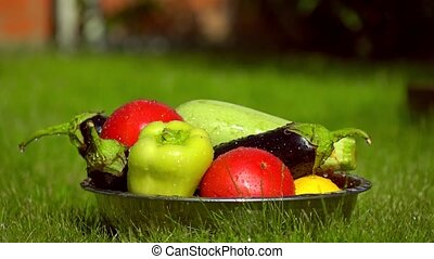 Pile of vegetables in a bowl and falling water drops, super...
