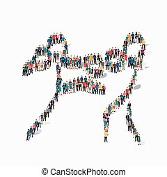 people sports kickboxing vector - Isometric set of styles,...