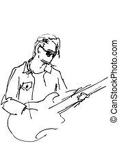 guy with glasses with an electric guitar