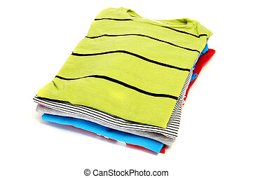 t-shirts - a pile of t-shirts isolated on a white background