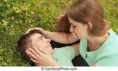 Young couple in love outdoors.