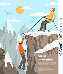 Extreme Mountaineering Illustration - Color flat...
