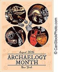 Hand Drawn Sketch Archeology Illustration - Hand drawn...