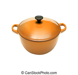 Orange casserole dish or crock pot, isolated on white.