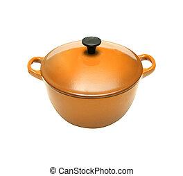 Orange casserole dish or crock pot, isolated on white