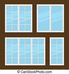 Flat Style Windows Types Set. Vector illustration