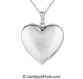 Silver pendant in shape of heart on chain isolated on white