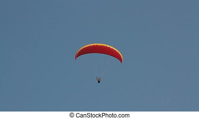 Paragliding over the mountains - Goa, India - February 19,...