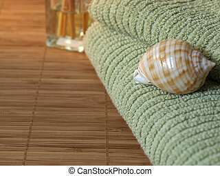 Wellness detail of green towels