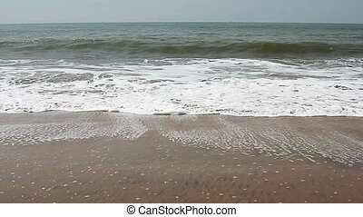 Beautiful sea waves on the beach in Goa